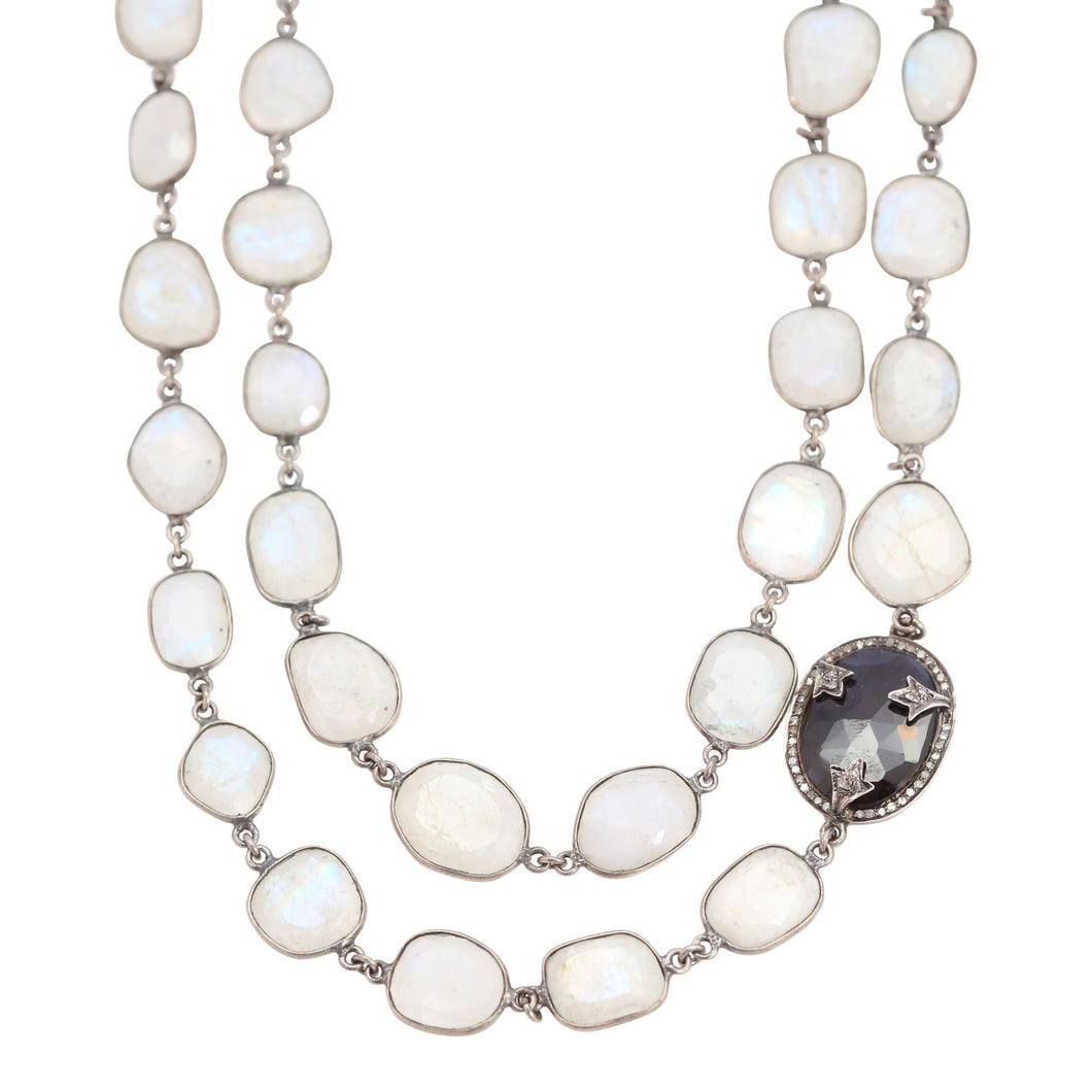 Necklace of Layered Moonstone Bezel