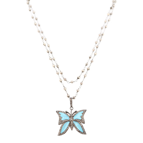 Necklace of Turquoise Butterfly Diamond