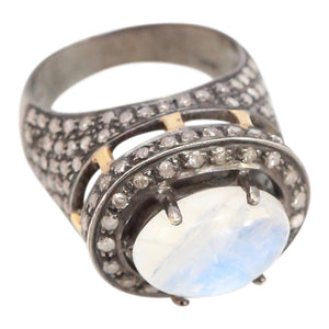 Moonstone cabachon ring set in Antiqued Silver with Pave Diamonds