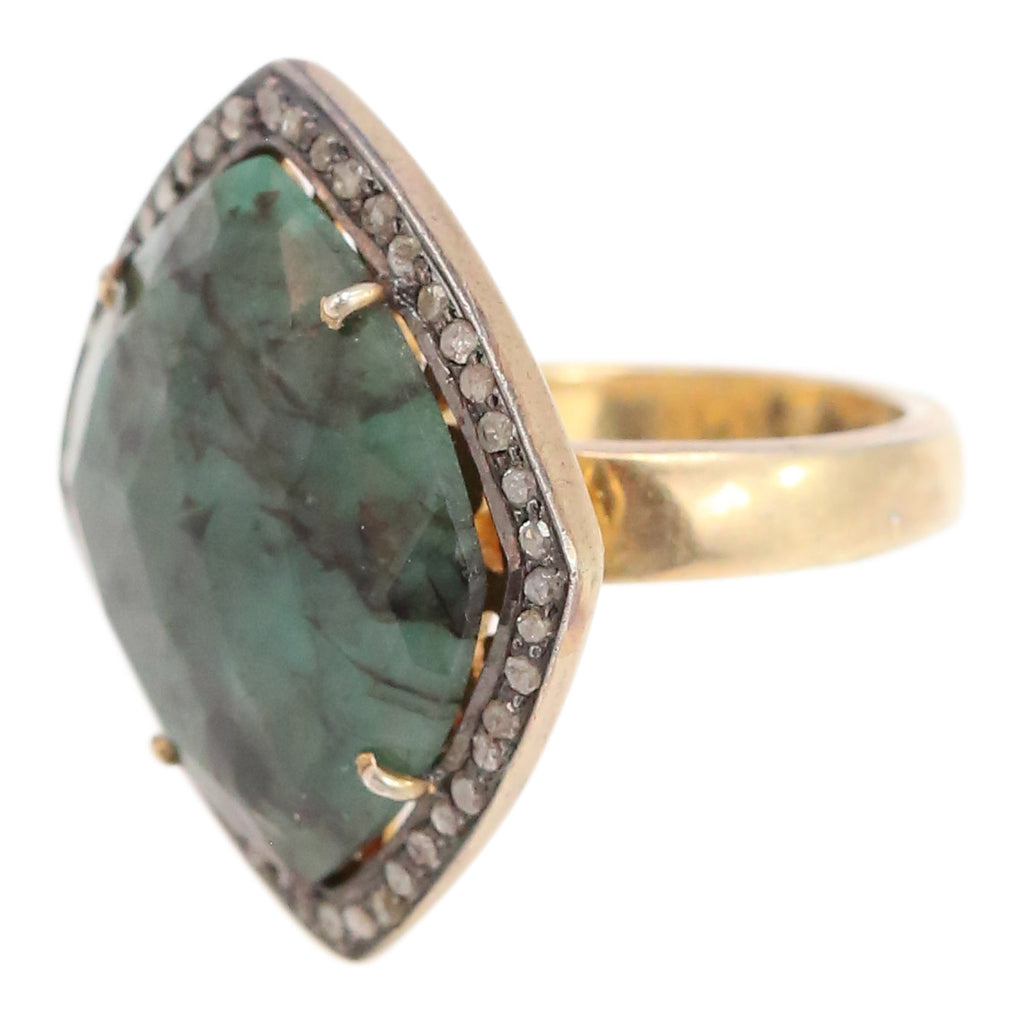 Yellow Gold, Diamond and Green Sapphire Cocktail RIng