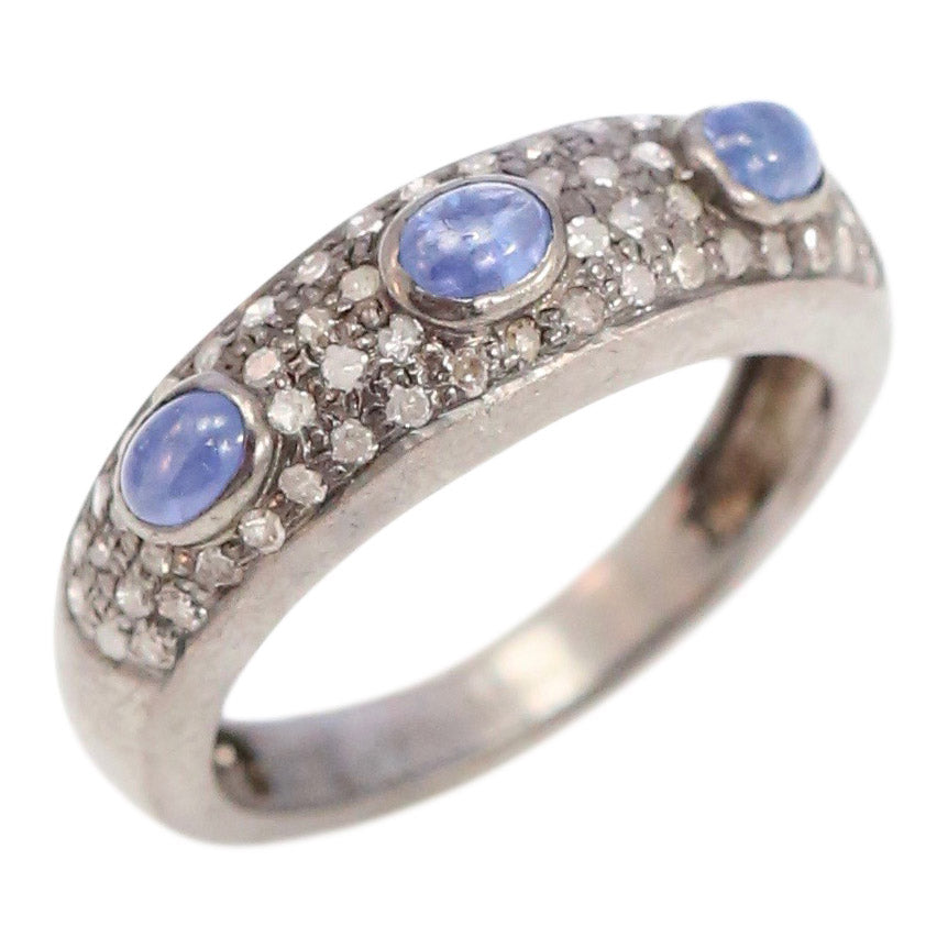 Sapphire Cabachon and Pave Diamond Band Ring