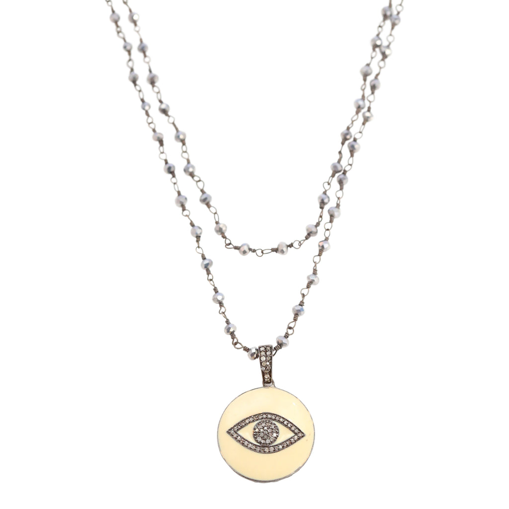 Necklace of Evil Eye Diamond and Enamel Pendant