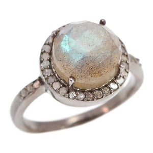 Silver, Labradorite and Diamond Ring