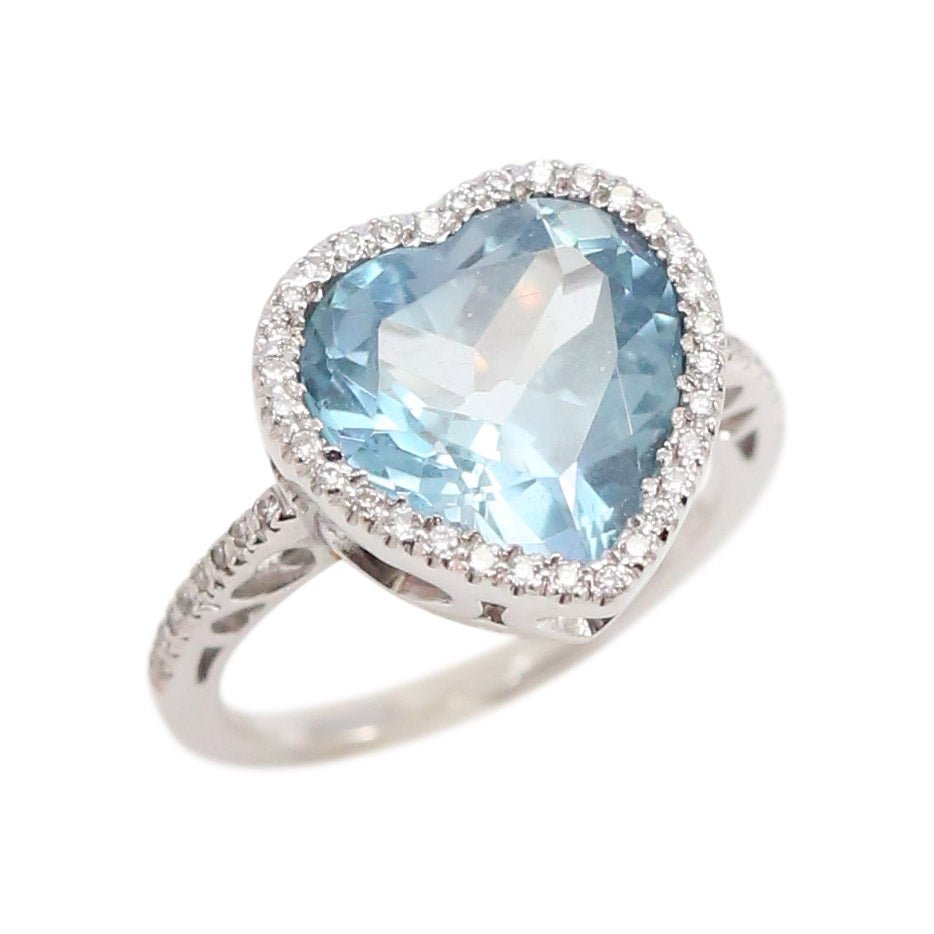 18Kt White Gold and Diamond, Aquamarine Heart Ring
