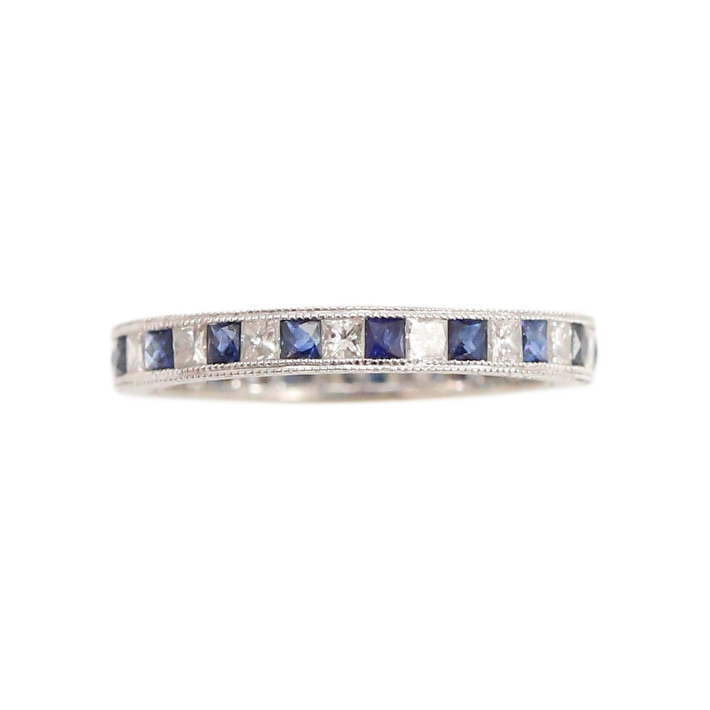 Sapphire Diamond Eternity Band in 18kt White Gold Ring