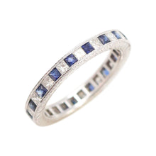 Sapphire Diamond Eternity Band in 18kt White Gold