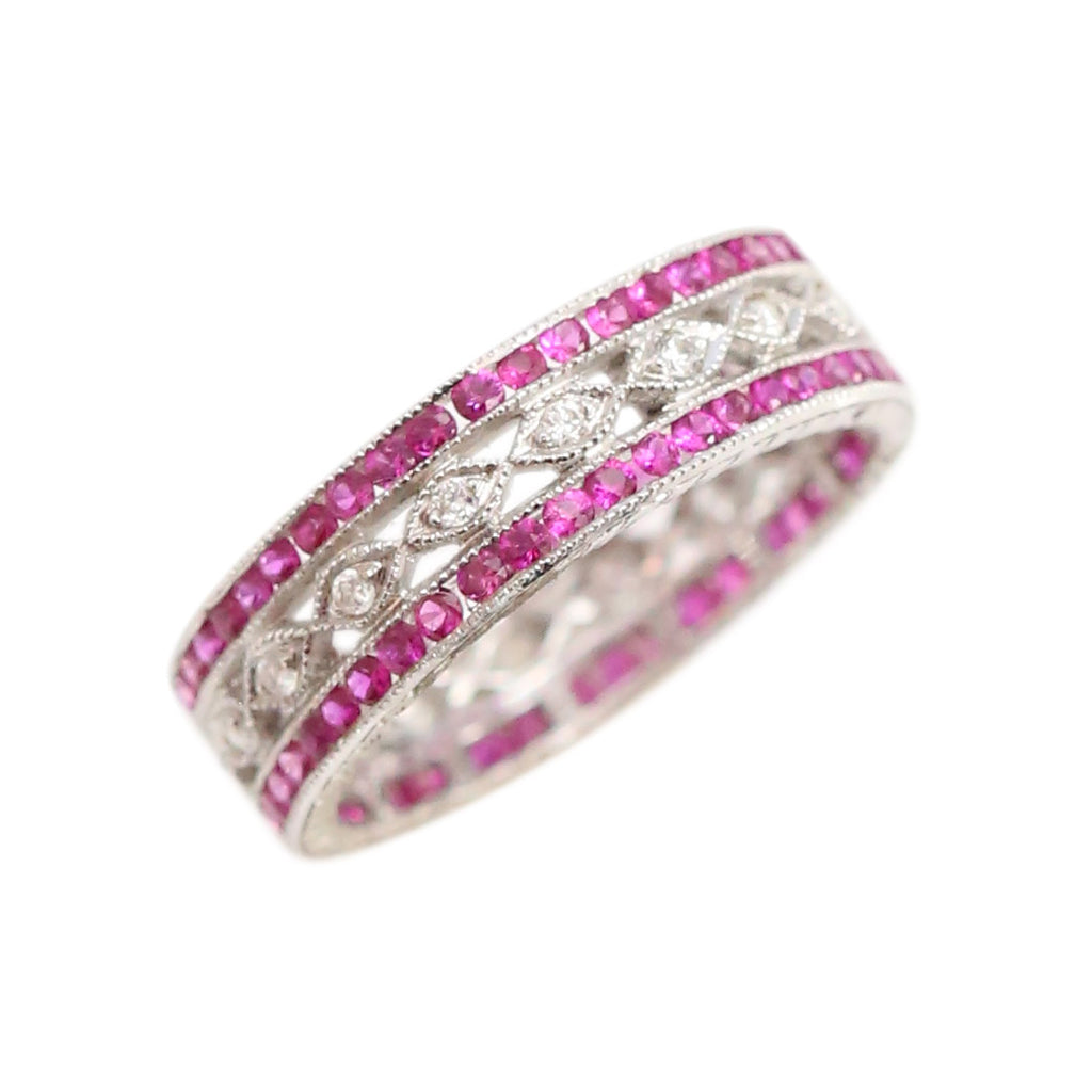 Diamond Infinity Band: 18kt White Gold Diamond and Ruby Band Ring