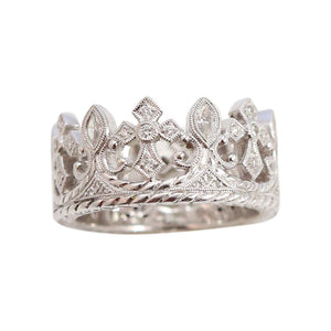 18kt White Gold Royal Crown Diamond Eternity Ring