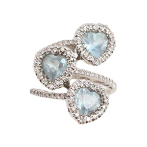 Diamond and multi stone Aquamarine 18kt White Gold Cocktail Ring