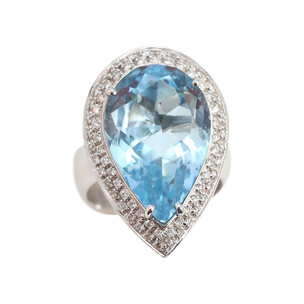 Blue Topaz and Diamond Coktail Ring Covered in Pave Diamonds