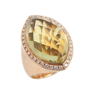 Rose Gold and Citrine Faceted Stone Ring