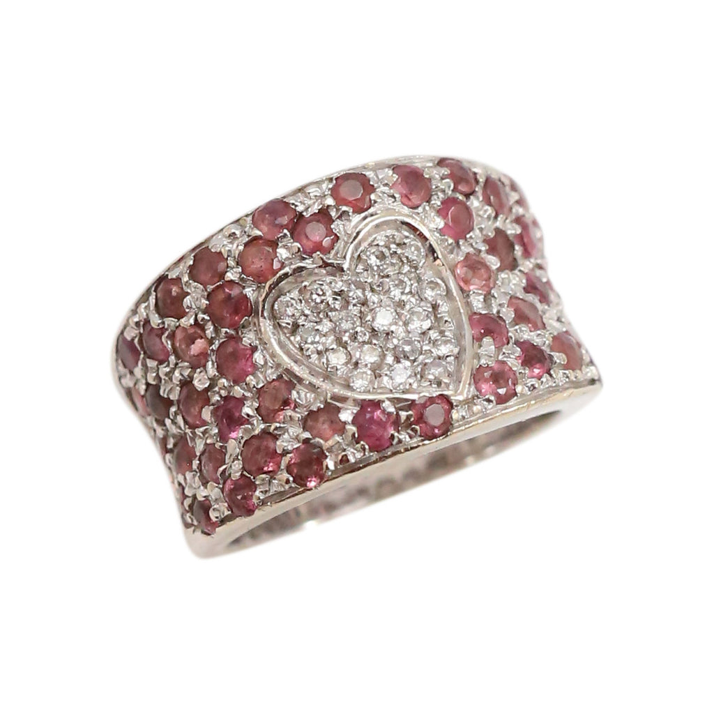 Pink Sapphire and Diamond Pave Band Ring