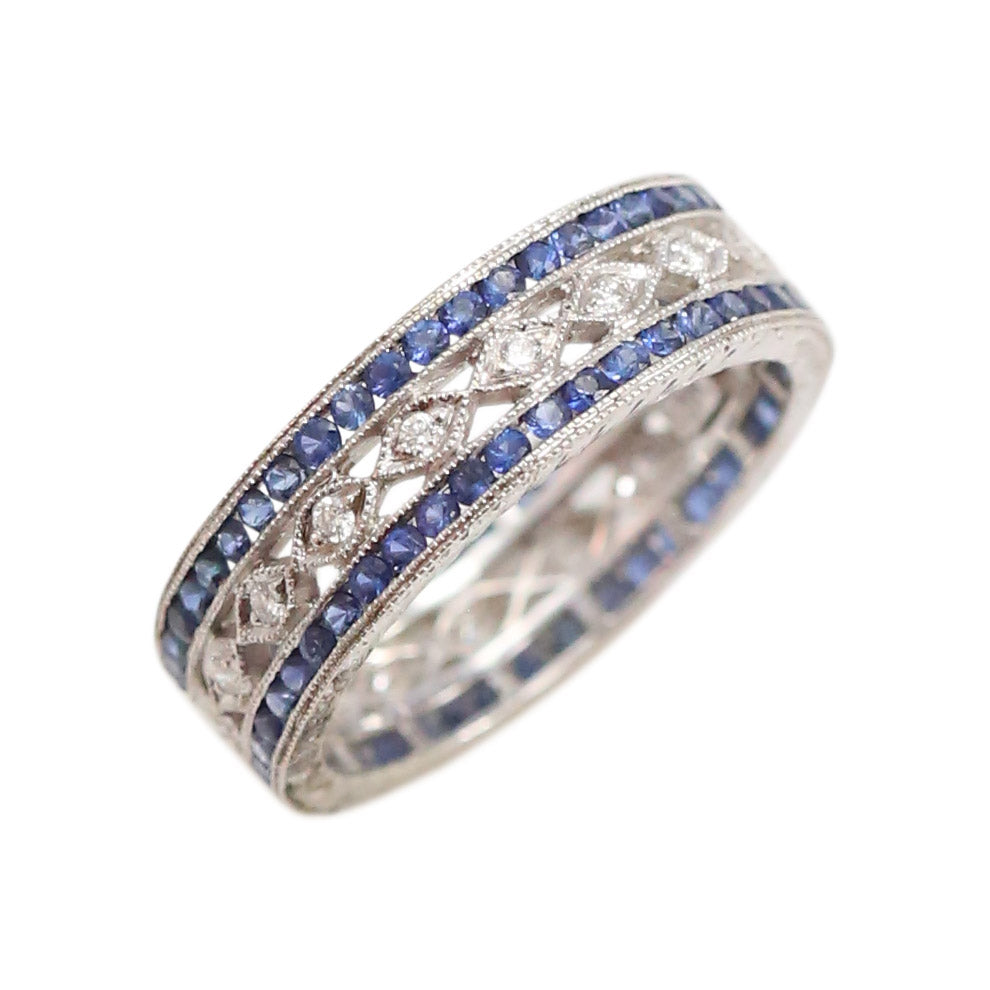Sapphire and Diamond Eternity Band in 18kt white gold Ring