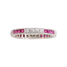 Ruby and Diamond Stacking Band in 18kt White Gold