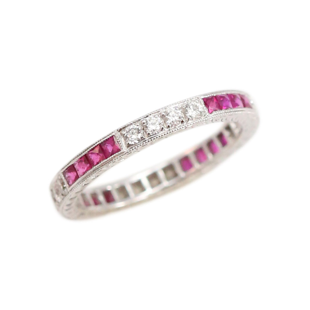 Ruby and Diamond Stacking Band in 18kt White Gold Ring