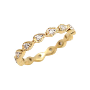 Yellow Gold and Diamond Tear-dropped Shaped Eternity Band