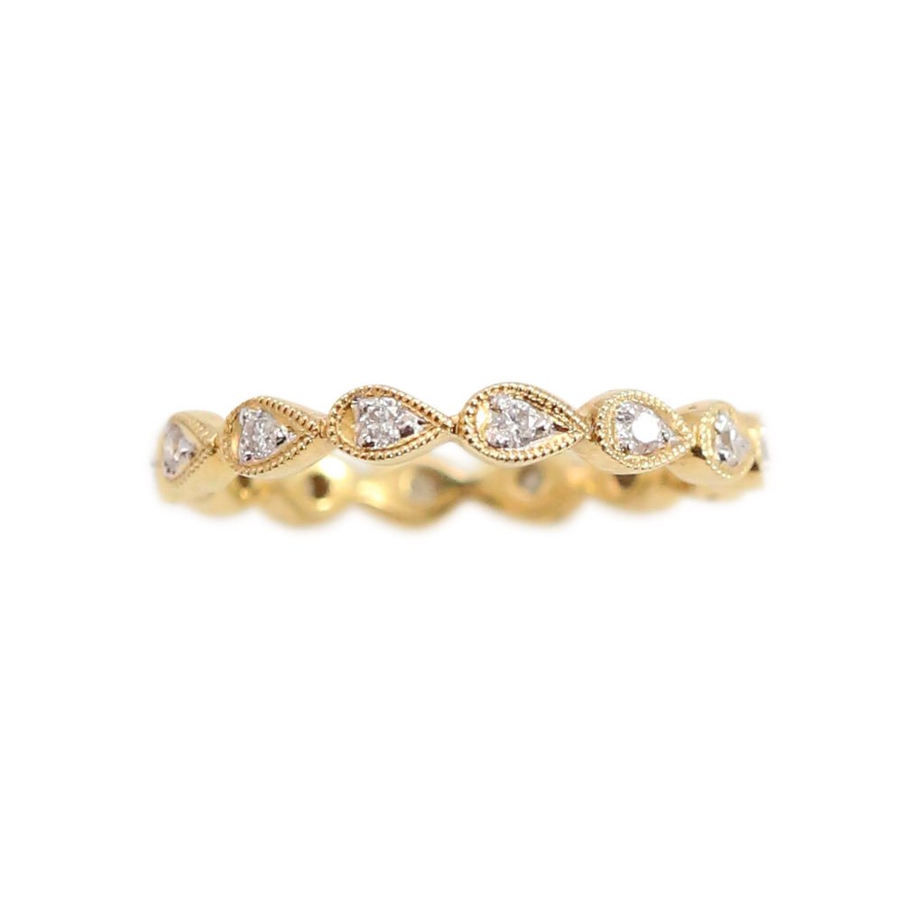 Yellow Gold and Diamond Tear-dropped Shaped Eternity Band Ring