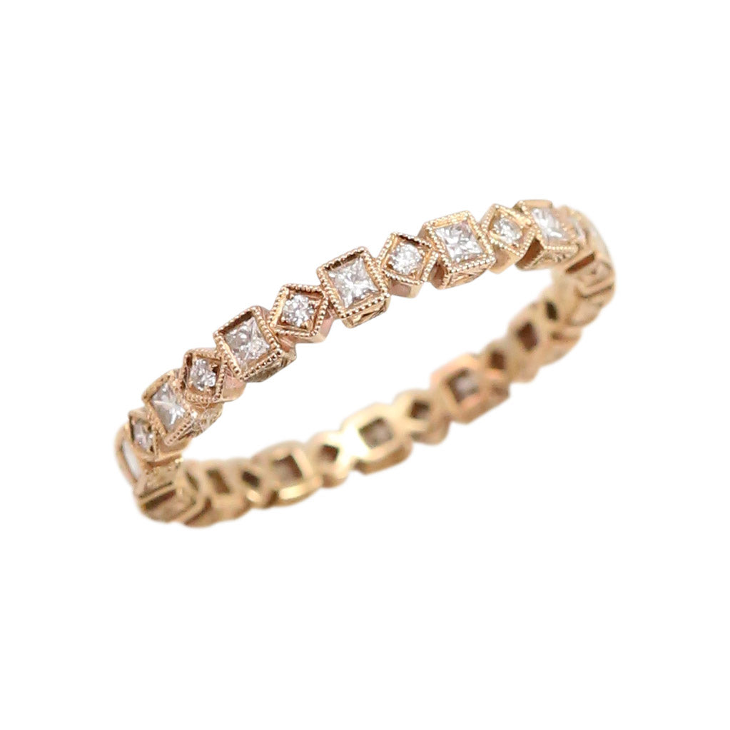 Diamond and Rose Gold Square and Diamond shaped Eternity Band Ring