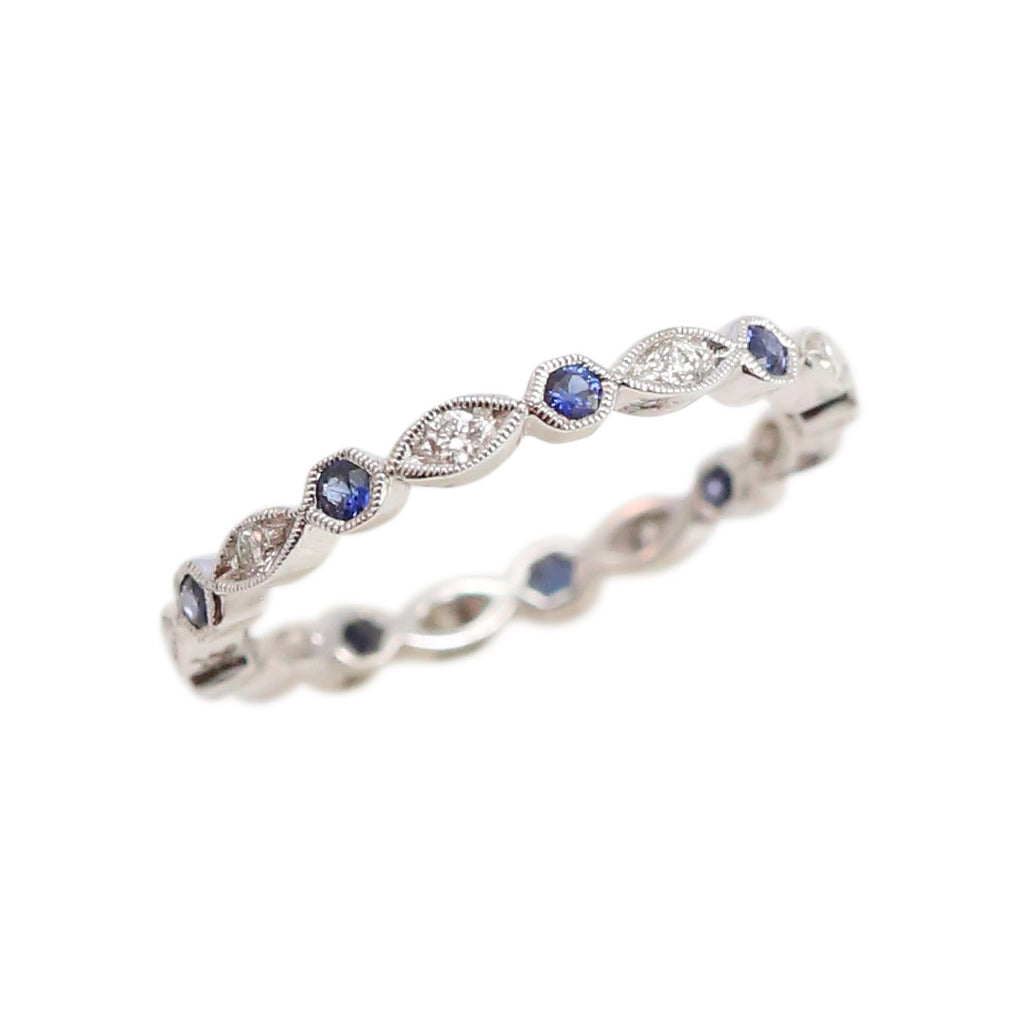 White Gold, Sapphire and Diamond Eternity Band Ring