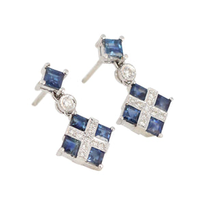 Art Deco Style Sapphire and Diamond Earrings in 18kt White Gold