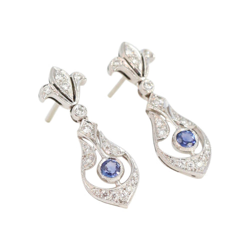 Edwardian Style pave Diamond and Blue Sapphire Drop Earrings in 18kt White Gold
