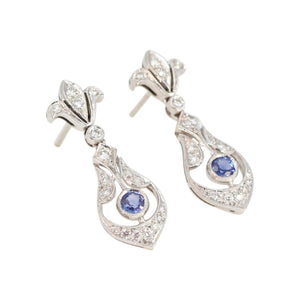 ed6c3c02f Edwardian Style pave Diamond and Blue Sapphire Drop Earrings in 18kt White  Gold