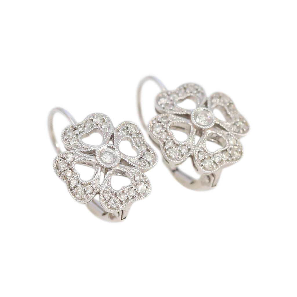 Diamond Clover Shaped Pave Earrings