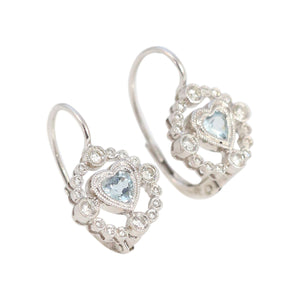 Diamond and Aquamarine Heart Earrings in 18kt White Gold
