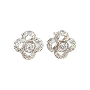 Diamond Studs with Floral Design in 18kt White Gold