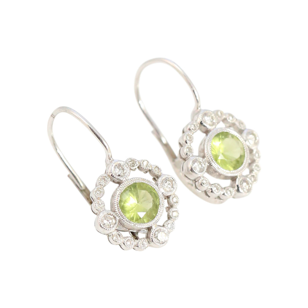 Diamond and Peridot Earrings