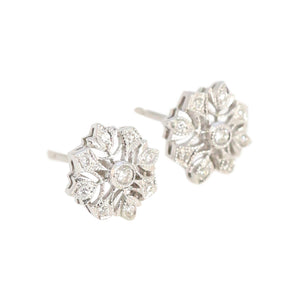 Diamond and 18kt White Gold Stud Earrings