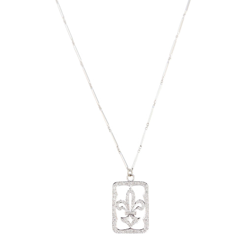 Necklace of Diamond Fleur-de-lys ID tag