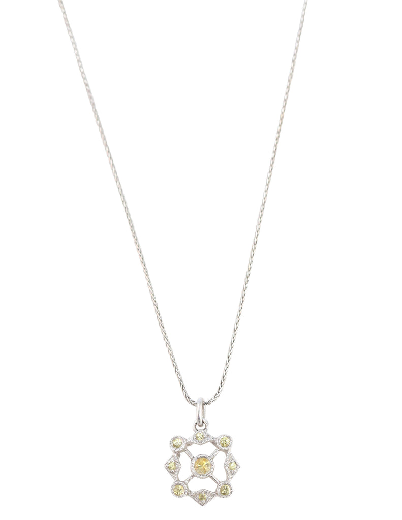 Necklace of Yellow Sapphire and Diamond Pendant