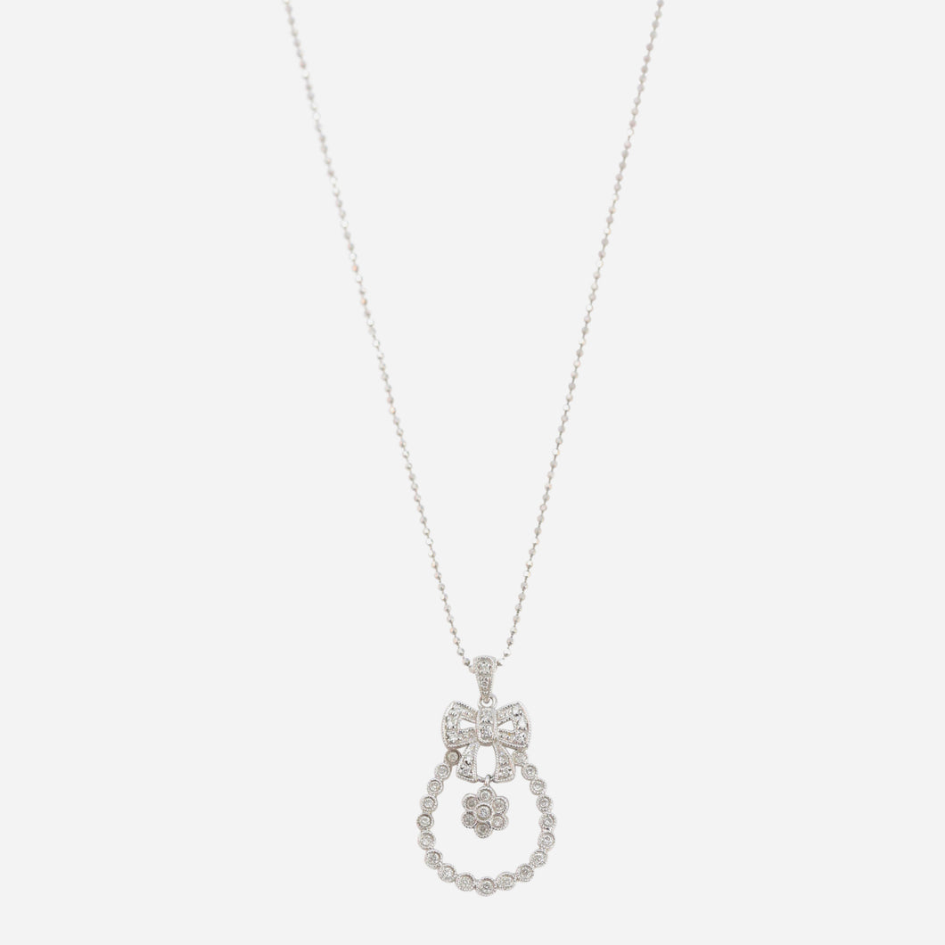 Diamond Bow and Floral Pendant Necklace in 18kt White Gold