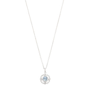 Necklace with Antique style Diamond and Aquamarine Pendant