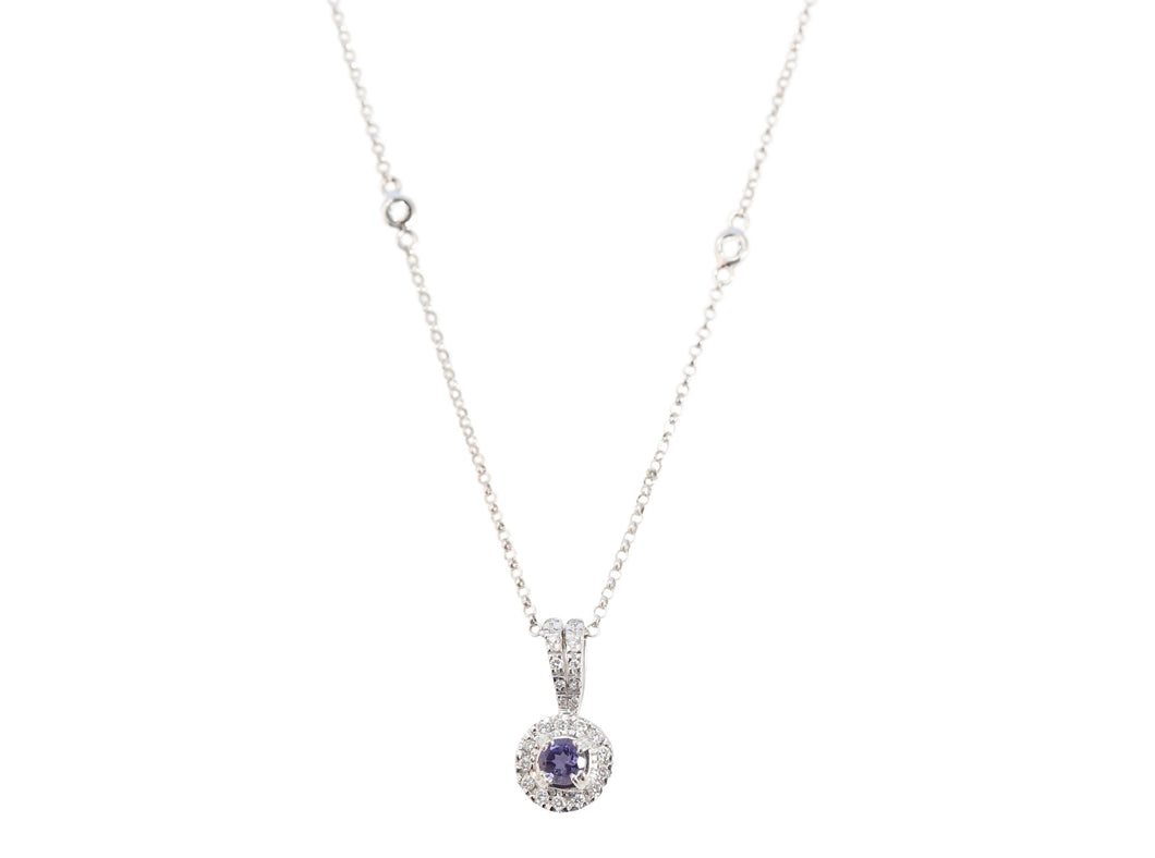 18k White Gold Blue Sapphire and Diamond Surround Necklace