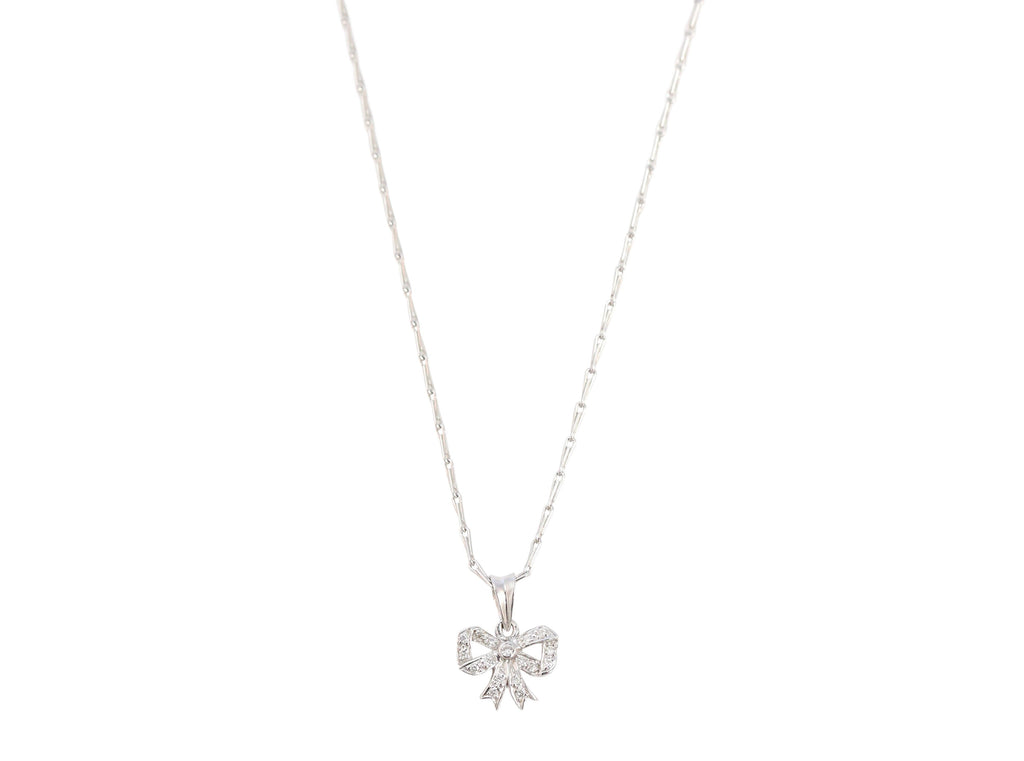 18K White Gold Diamond Bow Necklace