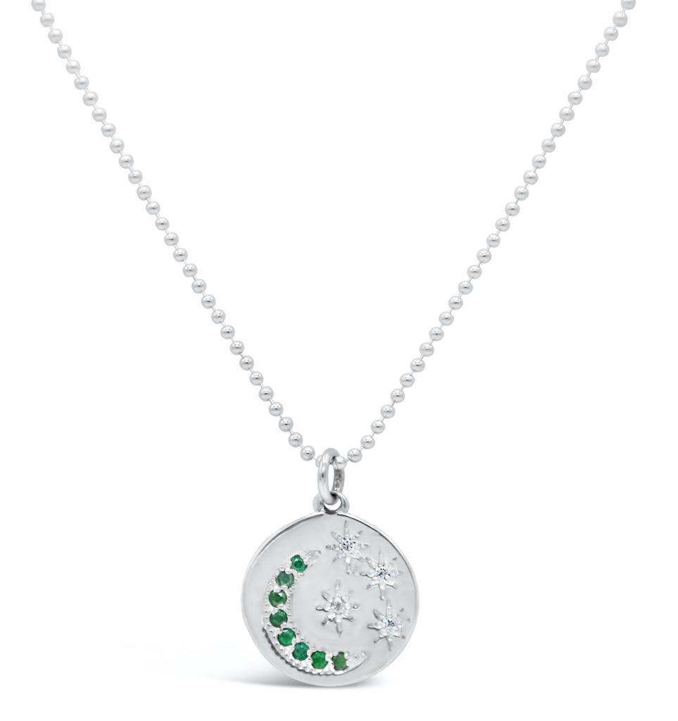 Starry Night Medallion Diamond and Emerald Necklace