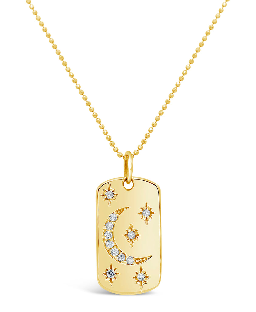 Starry Night Diamond 14k Dog Tag Necklace