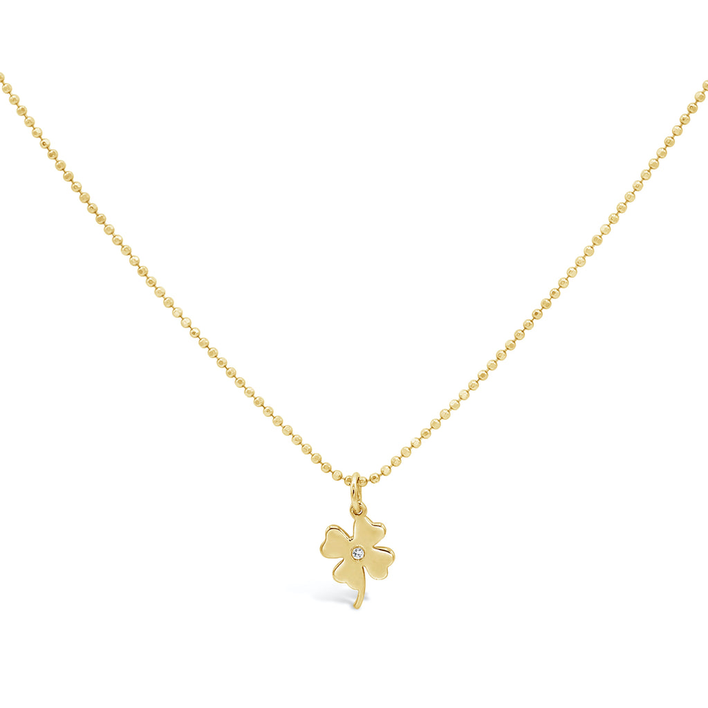 Lucky Clover 14k Diamond Charm Necklace