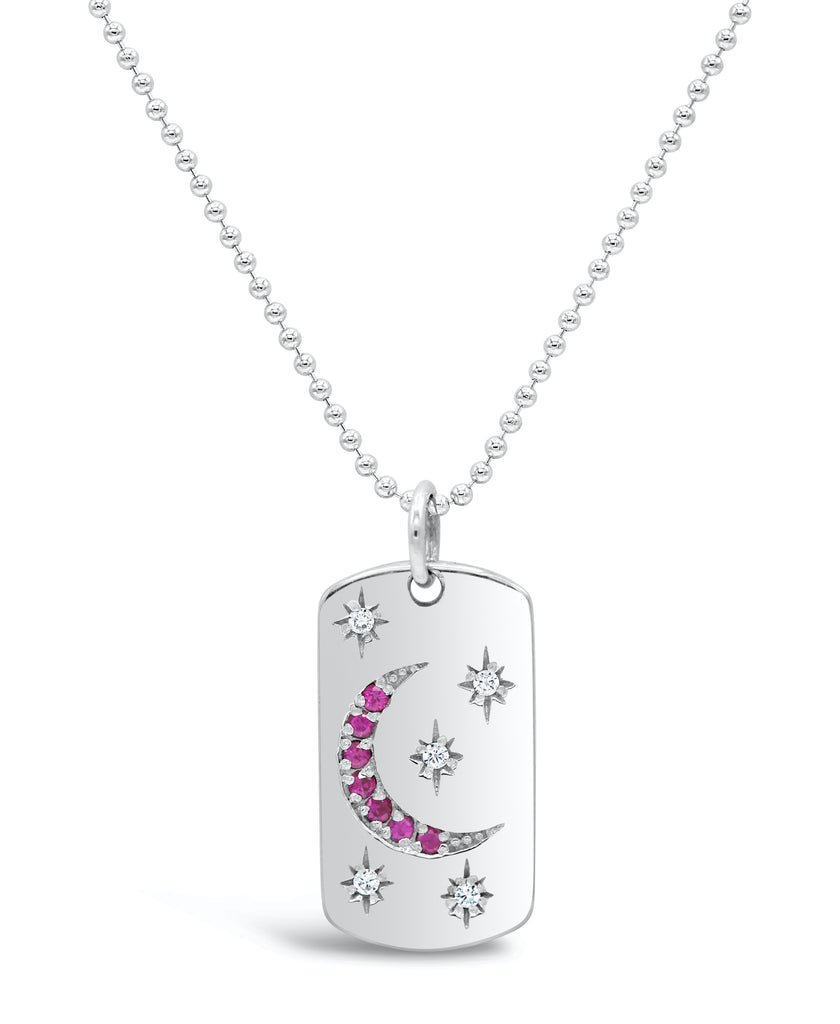Starry Night Diamond and Ruby Dog Tag Necklace
