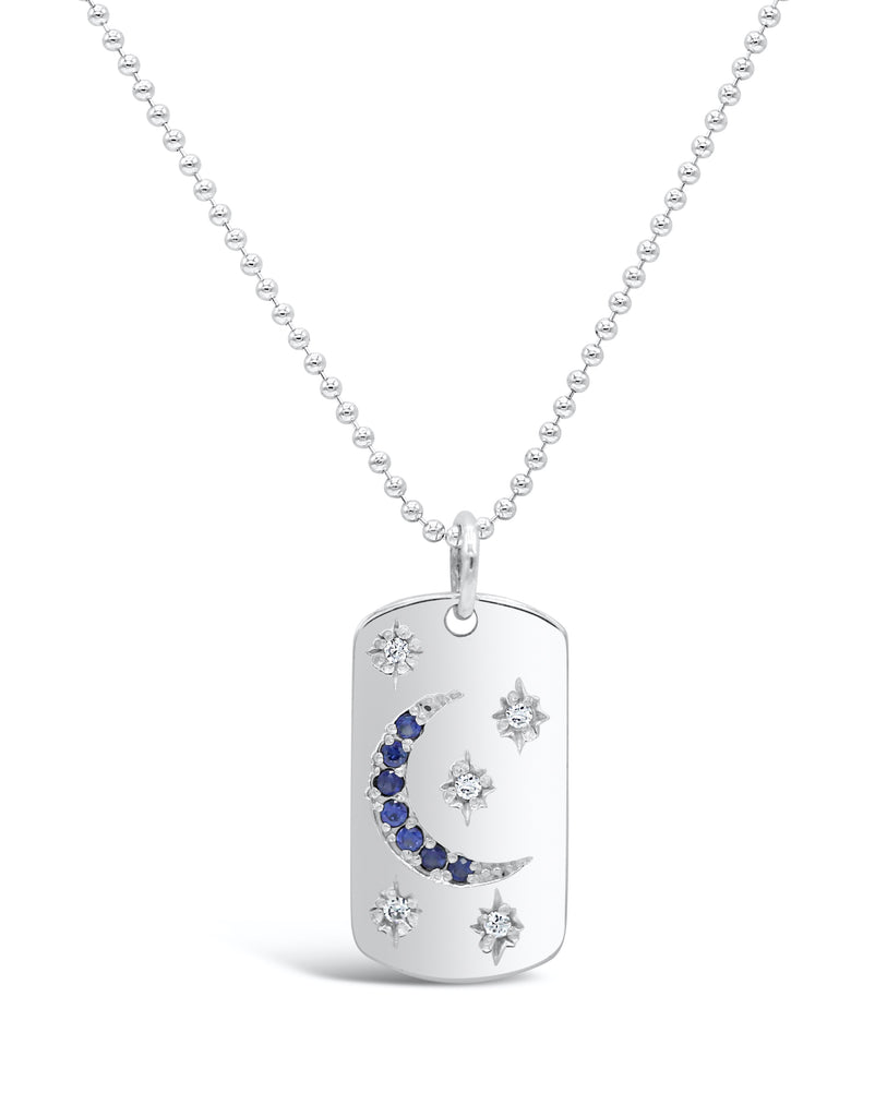 Starry Night Diamond and Blue Sapphire Dog Tag Necklace