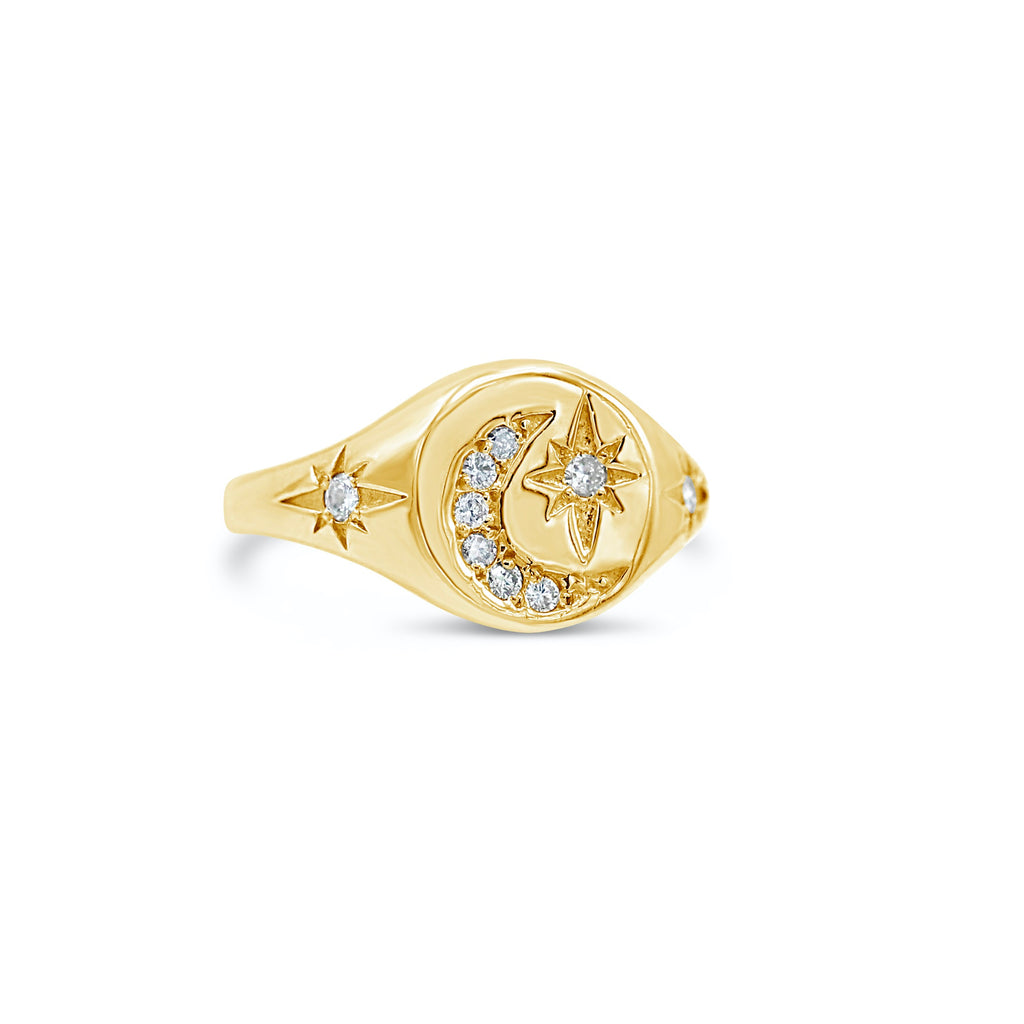 Starry Night 14k Diamond Starburst and Moon Signet Ring