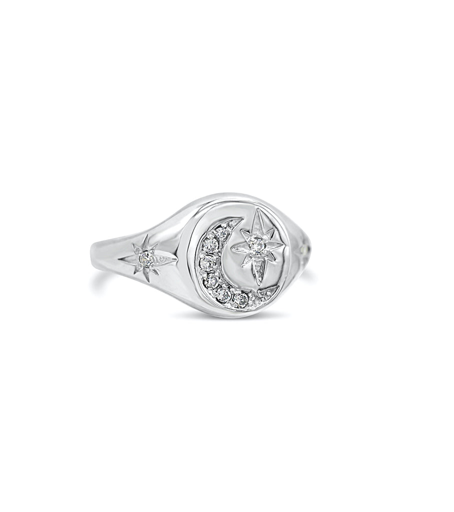 Starry Night Diamond Starburst and Moon Signet Ring