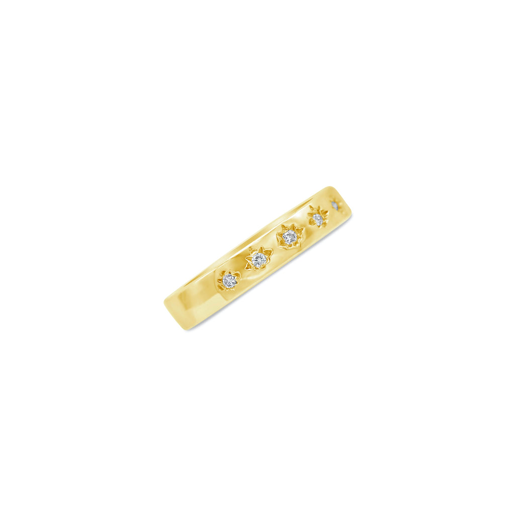 Starry Night Five Diamond 14k Starburst Band