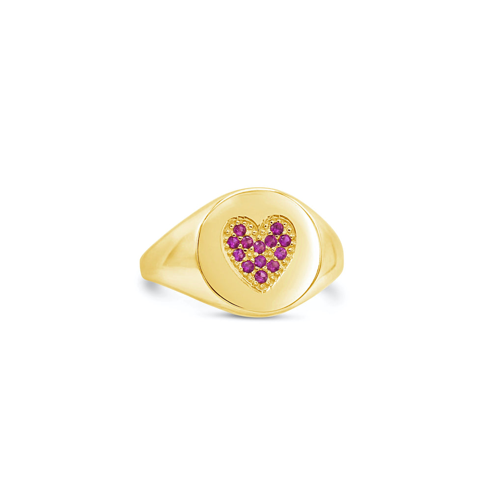 Ruby Heart 14k Signet Ring
