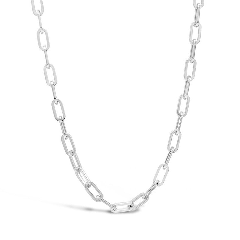 Paperclip Chain Sterling Silver Platinum Plated