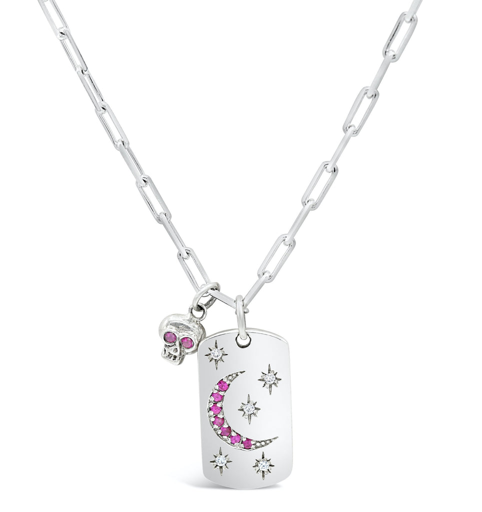 Starry Night Diamond and Ruby Dog Tag with Ruby Eye Skull Necklace