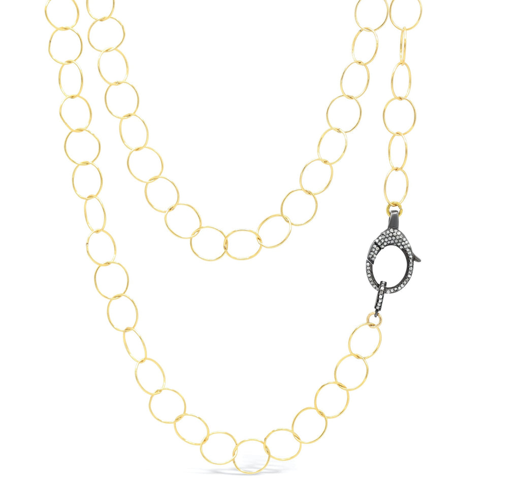 Diamond Clasp on Open Link Chain Necklace