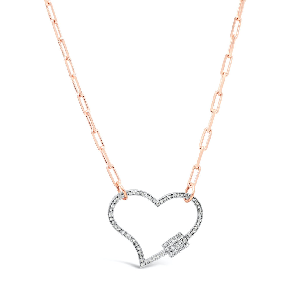 Diamond heart clasp on paperclip chain Necklace